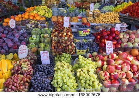 Tel Aviv, Israel : August 24, 2016 selling of exotic fruits on the Tel Aviv's Carmel Market on August 24, 2016, Tel Aviv, Israel
