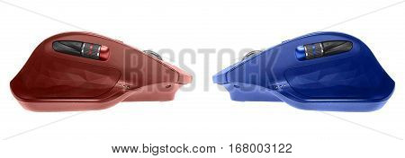 Two gaming computer mouse. opposition concept. isolated on white