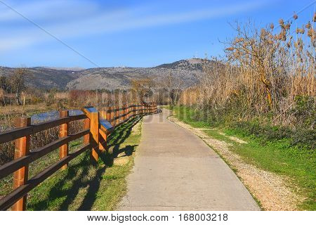 walking paths in Hula Lake nature reserve, Hula Valley, Israel