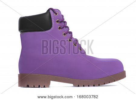 Purple boot. Side view. Isolated on white background