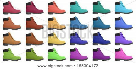 Set of multicolored boots. Side view. Isolated on white background