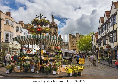 WELLS, ENGLAND - JULY 29: selling flowers on the Wells market in the market square on July 29, 2015 in Wells, Somerset, England