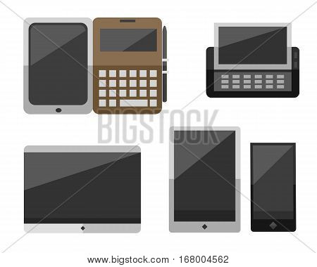 Computer vector portable tablet and notebook ebook illustration. Telecommunication equipment metal pc monitor frame modern office network. Electronic device space.