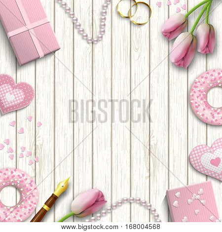 Romantic background with pink objects on white wooden pattern, inspired by flat lay style, vector illustration, eps 10 with transparency and gradient meshes