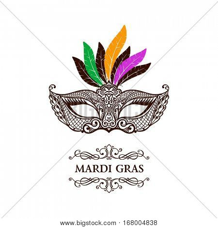 Vector logo mask of lace. Mardi Gras vector background. White and black masquerade. Venetian carnival. Vintage unique luxury quality pattern