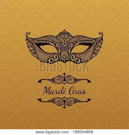 Vector gold mask of lace. Mardi Gras vector background. White and black masquerade. Venetian logo carnival. Vintage unique luxury quality pattern