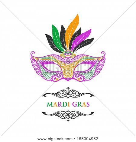Vector logo mask of lace. Mardi Gras vector background. White and black masquerade. Venetian carnival label. Vintage unique luxury quality pattern