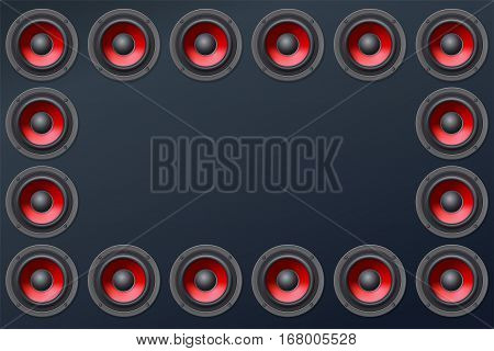 Audio speakers, subwoofers, wall of sound loudspeakers with red diffuser isolated on dark background. Copy space, place for your text. Vector illustration, eps10