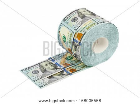 Roll of dollars toilet paper isolated on white background