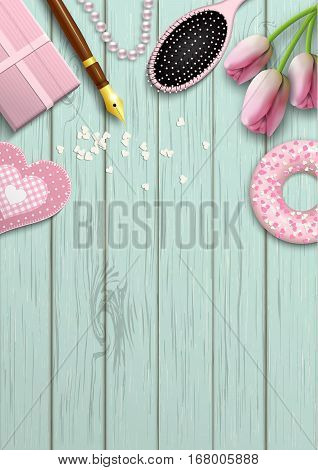 Romantic valentine background with various pink objects on blue wooden pattern, inspired by flat lay style, vector illustration, eps 10 with transparency and gradient meshes