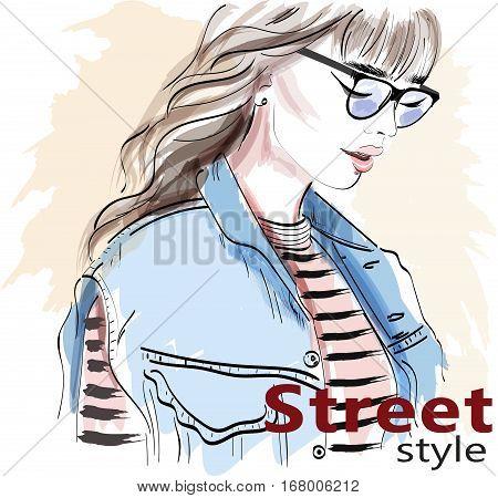 Stylish hand drawn girl in sunglasses. Fashion woman. Sketch. Vector illustration.