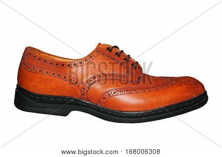 Mens brown leathers shoe isolated on white background.