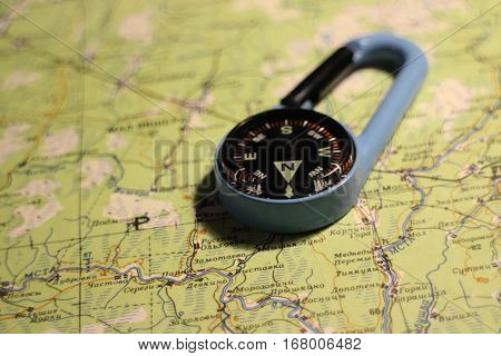 compass is on the navigational map orientation