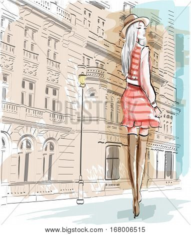 Hand drawn fashion woman on a street background. Stylish girl in a hat. Sketch set. Vector illustration.