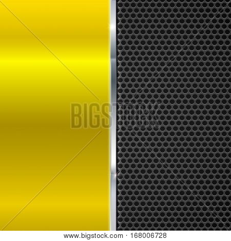 Background of polished yellow metal and black metal mesh with polished metal strip. Technological background for garages, auto shops and just creativity