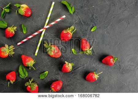 Mint And Strawberry And Drinking Straws