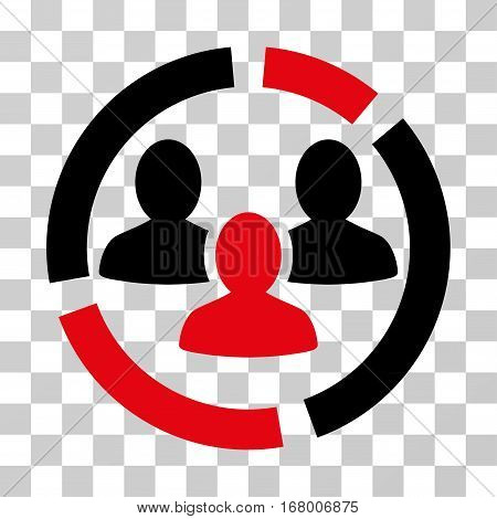 Demography Diagram icon. Vector illustration style is flat iconic bicolor symbol, intensive red and black colors, transparent background. Designed for web and software interfaces.