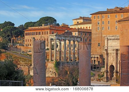 antique ruins of the Roman Forum (Foro Romano) in Rome, Italy