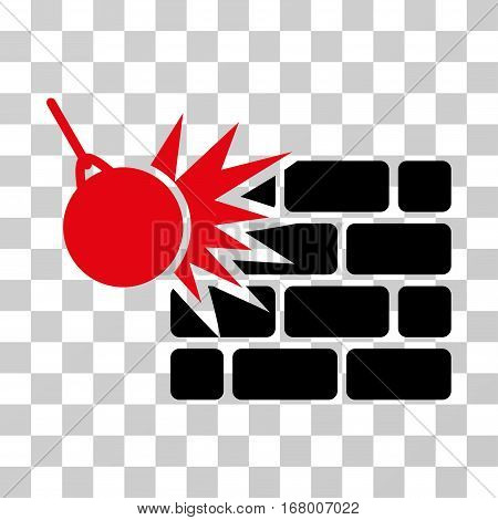 Destruction icon. Vector illustration style is flat iconic bicolor symbol, intensive red and black colors, transparent background. Designed for web and software interfaces.