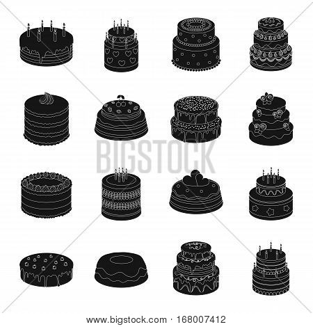 Cakes set icons in black design. Big collection of cakes vector symbol stock illustration