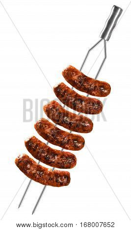 Sausages On The Barbecue Spit On White Background