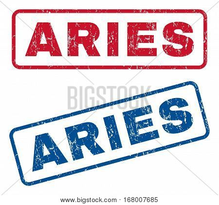 Aries text rubber seal stamp watermarks. Vector style is blue and red ink caption inside rounded rectangular shape. Grunge design and scratched texture. Blue and red emblems.