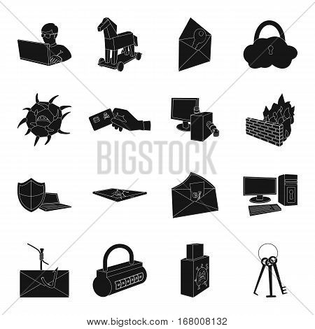 Hackers and hacking set icons in black design. Big collection of hackers and hacking vector symbol stock illustration