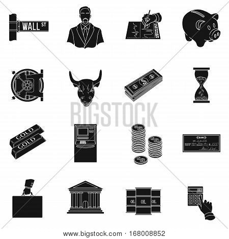 Money and finance set icons in black design. Big collection of money and finance vector symbol stock illustration
