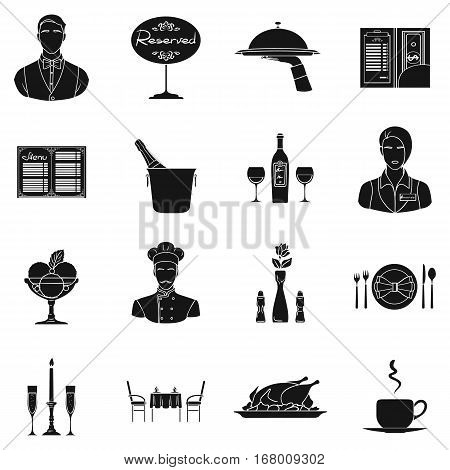 Restaurant set icons in black design. Big collection of restaurant vector symbol stock illustration