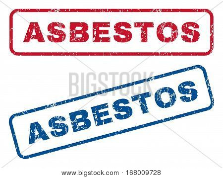 Asbestos text rubber seal stamp watermarks. Vector style is blue and red ink tag inside rounded rectangular banner. Grunge design and dirty texture. Blue and red signs.