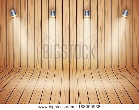Curved wooden background with spotlights. Presentation and mockup platform. Vector Illustration.