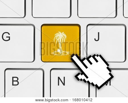 Computer keyboard with palm tree key