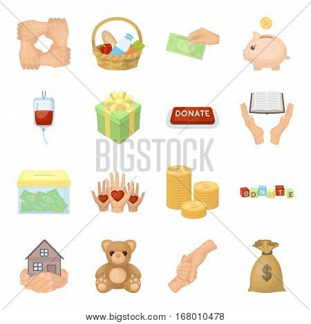 Charity and donation set icons in cartoon design. Big collection of charity and donation vector symbol stock illustration