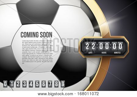 Creative Background Coming Soon of Football Game and countdown timer with digit samples. Vector Illustration isolated on white background.
