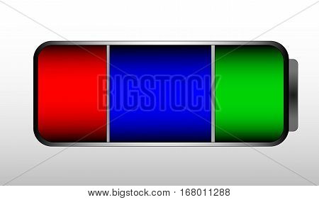 Full battery vector. Colorful concept of energy. Red, blue and green color. Battery indicator icon