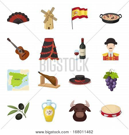 Spain country set icons in cartoon design. Big collection of Spain country vector symbol stock illustration