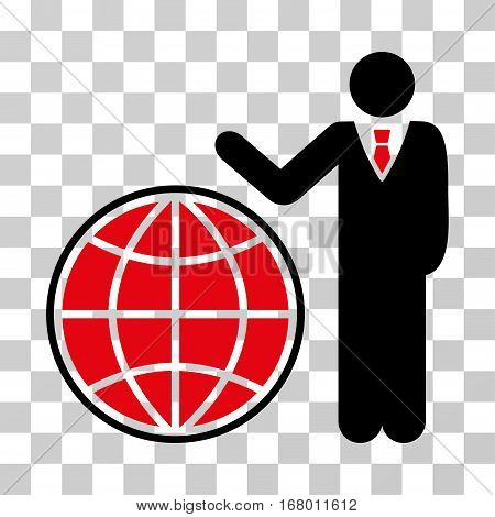 Planetary Manager icon. Vector illustration style is flat iconic bicolor symbol, intensive red and black colors, transparent background. Designed for web and software interfaces.