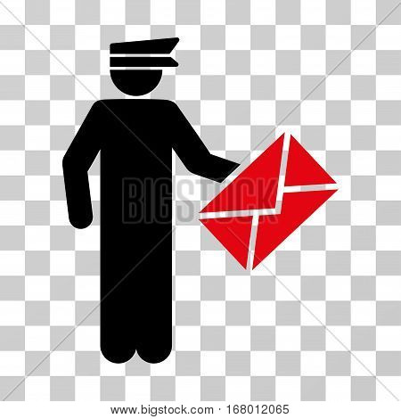 Postman icon. Vector illustration style is flat iconic bicolor symbol, intensive red and black colors, transparent background. Designed for web and software interfaces.