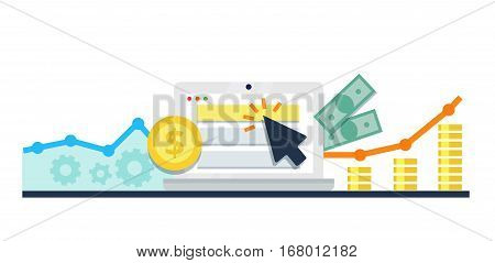 PPC, pay per click flat online internet marketing concept - vector illustration.