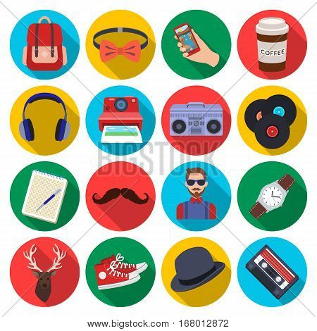 Hipster style set icons in flat design. Big collection of hipster style vector symbol stock illustration