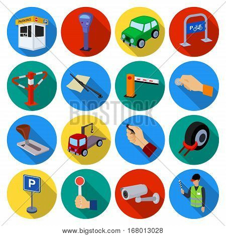 Parking zone set icons in flat design. Big collection of parking zone vector symbol stock illustrationCar