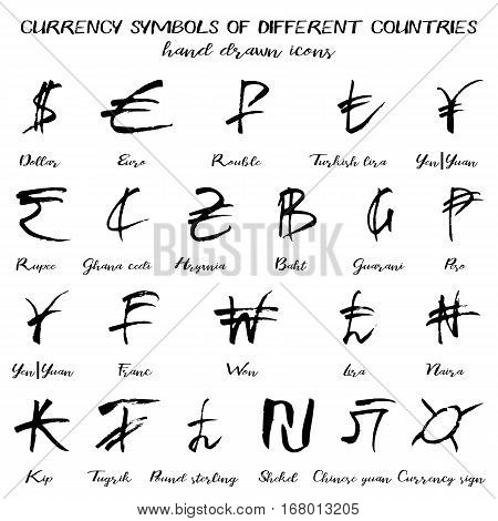 Set of currency symbols of world in hand drawn technique and grunge style isolated on white. Vector illustration