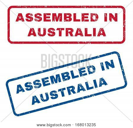 Assembled In Australia text rubber seal stamp watermarks. Vector style is blue and red ink tag inside rounded rectangular banner. Grunge design and dirty texture. Blue and red stickers.