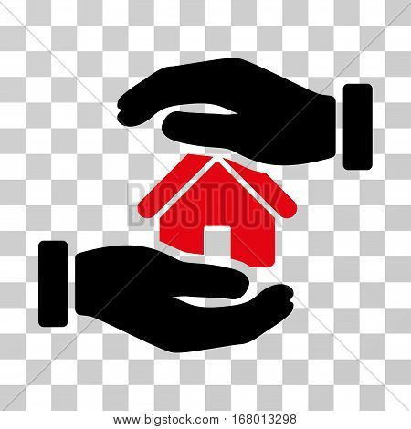 Realty Insurance icon. Vector illustration style is flat iconic bicolor symbol, intensive red and black colors, transparent background. Designed for web and software interfaces.