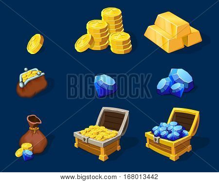 Cartoon treasure elements set for game design with gold bars coins diamonds and full chests isolated vector illsutration