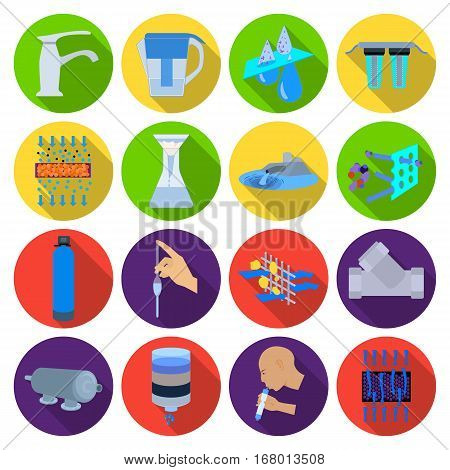 Water filtration system set icons in flat design. Big collection of water filtration system vector symbol stock illustration