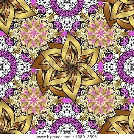Seamless vintage pattern on dark pink and lilac background with golden elements. Petals flowers.