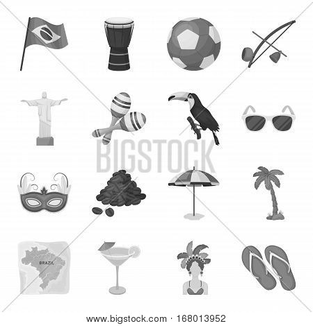 Brazil country set icons in monochrome design. Big collection of Brazil country vector symbol stock illustration