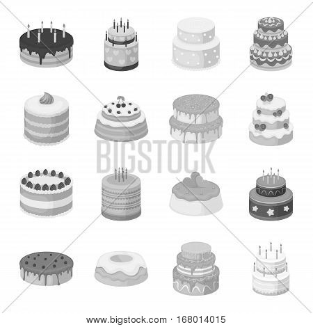 Cakes set icons in monochrome design. Big collection of cakes vector symbol stock illustration