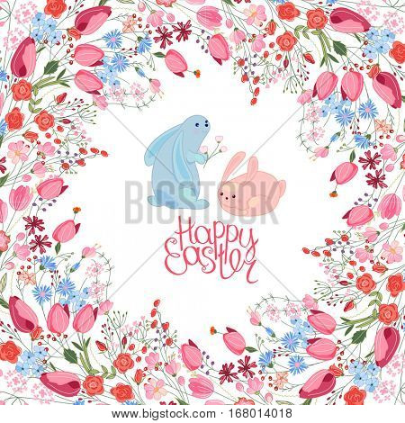 Greeting easter card with rabbits, tulips, herbs and phrase Happy Easter. Red and blue color. White background.